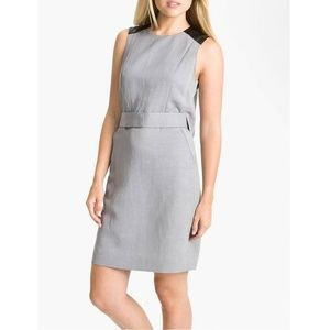Valette Gray Linen with Leather Sheath Dress NWT